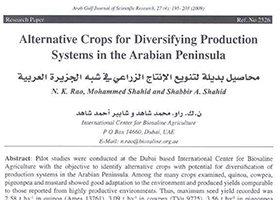 Alternative Crops for Diversifying Production Systems in the Arabian Peninsula