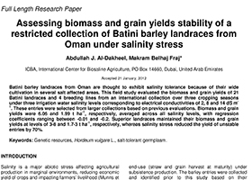 Assessing biomass and grain yield stability of a restricted collection of Batini barley landraces from Oman under salinity stress