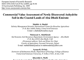 Commercial Value Assessment of Newly Discovered Anhydrite Soil in the Coastal Lands of Abu Dhabi Emirate