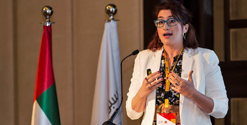 Dr. Dionysia Angeliki Lyra, a halophyte agronomist at ICBA, presents her project to the selection panel of the Expo 2020 Dubai's Expo Live Innovation Impact Grant Programme.