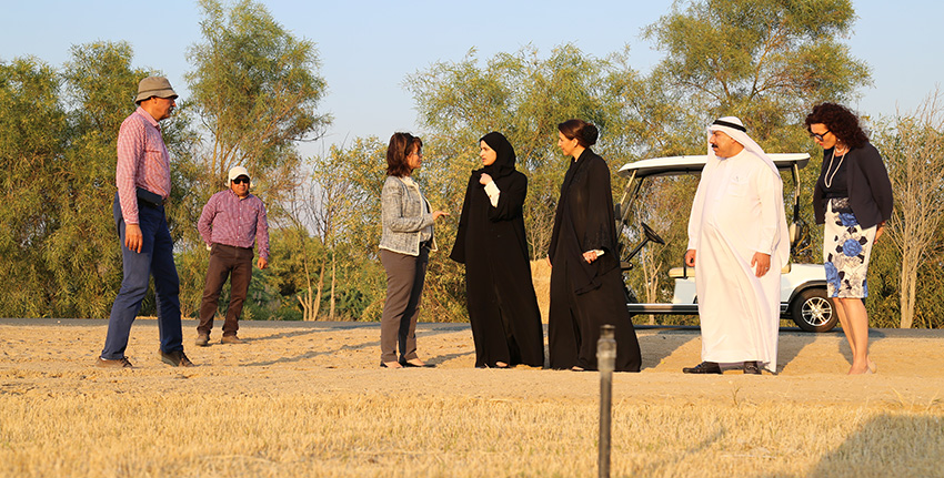 H.E. Mariam Almheiri and H.E. Sarah Al Amiri toured ICBA's research facilities accompanied by Professor Abdulrahman Sultan Alsharhan, Chairman of ICBA's Board of Directors, Dr. Ismahane Elouafi, ICBA's Director General, and Ms. Seta Tutundjian, Director of Partnerships and Knowledge Management Division.
