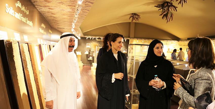 H.E. Mariam Almheiri and H.E. Sarah Al Amiri also visited the Emirates Soil Museum, a unique facility managed by ICBA.