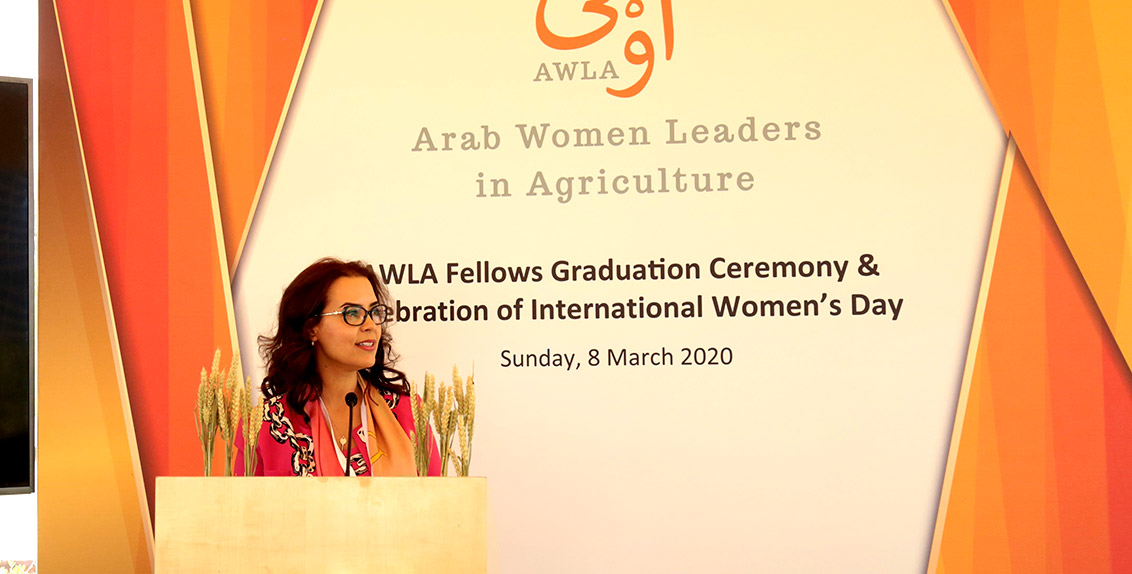 "For her part, Dr. Ismahane Elouafi, Director General of ICBA, said: ""We are delighted to see the inaugural cohort of AWLA fellows graduating on such a special occasion – International Women's Day. The AWLA fellowship program was able to open a door of opportunities for 22 Arab women scientists by providing them with soft skills to positively impact their communities and countries."""