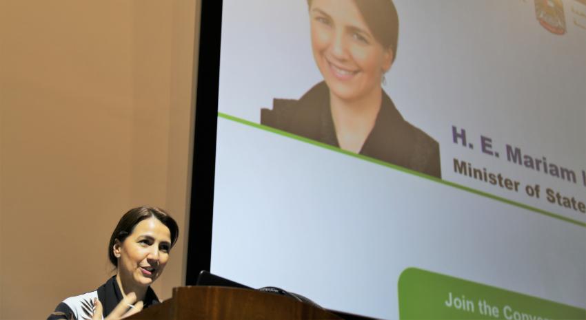 ألقت معالي مريم بنت محمد المهيري، وزيرة دولة للأمن الغذائي، كلمة ترحيبية أمام المشاركين في الندوة.