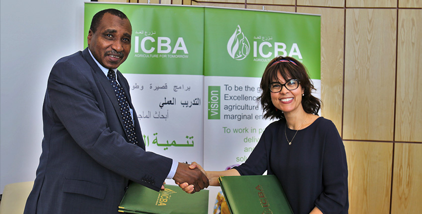 Dr. Ismahane Elouafi and Prof. Ibrahim Adam Ahmed El-Dukheri signed a memorandum of understanding to enhance cooperation in agricultural climate resilience and food security in the Arab region.