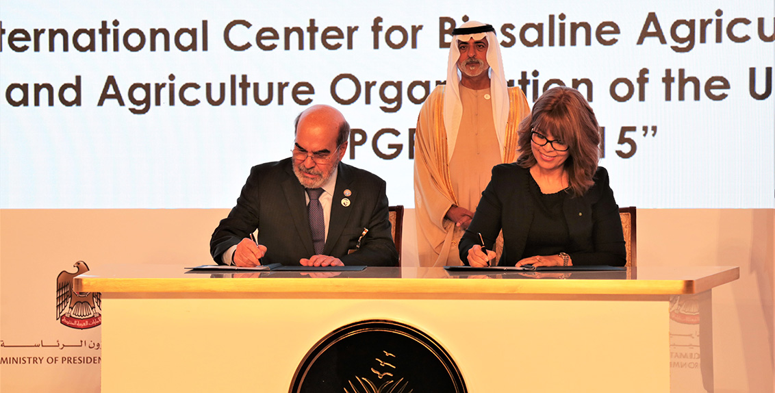 The first agreement was signed during an awards ceremony of the Khalifa International Award for Date Palm and Agricultural Innovation in Abu Dhabi in the presence of H.H. Sheikh Nahayan Mabarak Al Nahayan, Minister of Tolerance of the UAE, within the framework of Article 15 of the FAO International Treaty on Plant Genetic Resources for Food and Agriculture.