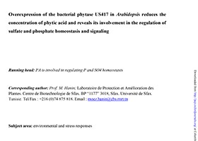 Over-expression of the bacterial phytase US417 in Arabidopsis reduces the concentration of phytic acid and reveals its involvement in the regulation of sulfate and phosphate homeostasis and signaling
