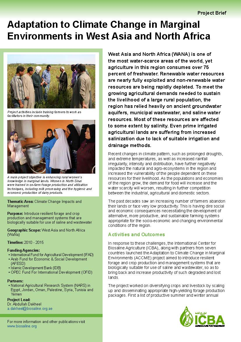Adaptation to Climate Change in Marginal Environments in West Asia