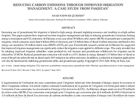 Reducing carbon emissions through improved irrigation management: A case study from Pakistan.
