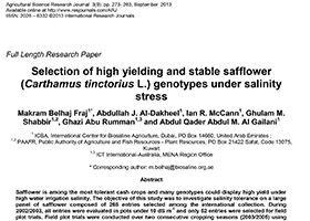 Selection of high yielding and stable safflower (Carthamus tinctorius L.) genotypes under salinity stress