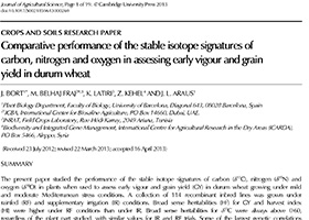 Comparative performance of the stable isotope signatures of carbon, nitrogen and oxygen in assessing early vigour and grain yield in durum wheat