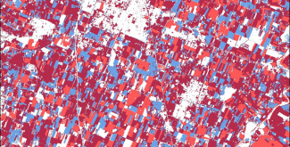The changes seen in a region of Italy in the Normalized Difference Vegetation Index (NDVI) between 2019 and 2020 in the same time period. NDVI is an index used to estimate the health and productivity of vegetation. The red shows areas where the vegetative productivity has decreased; blue areas where vegetative productivity has increased, and the maroon where it is roughly the same. The changes show the differences in the farmed areas between the two years.