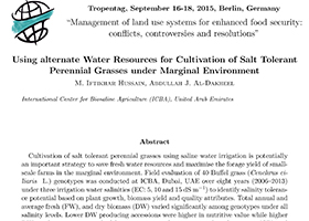 Using alternate Water Resources for Cultivation of Salt Tolerant Perennial Grasses under Marginal Environment